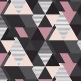 Modello di mosaico geometrico di vettore Elementi futuristici rosa e beige grigi del triangolo Retro stampa a strisce della decor Fotografia Stock