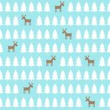 Modello di Natale - cervo, alberi di natale Priorità bassa di nuovo anno felice Immagini Stock