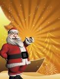 Modello di Natale con 3d Santa Fotografia Stock Libera da Diritti