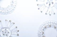Modello di Natale con gli elementi di vetro Fotografie Stock Libere da Diritti