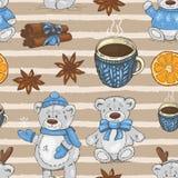 Modello di Natale con gli orsacchiotti, le tazze e le spezie illustrazione di stock