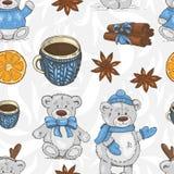 Modello di Natale con gli orsacchiotti, le tazze e le spezie royalty illustrazione gratis