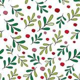 Modello di Natale con le bacche e le foglie verdi rosse Carta da parati alla moda con le bacche e le foglie verdi rosse Buon Nata royalty illustrazione gratis