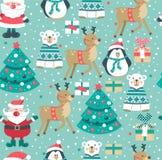 Modello di Natale con Santa, albero, scatole, orso polare pupazzo di neve, cervi e pinguino , illustrazione vettoriale