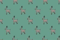Modello di natale dei cervi di scarabocchio Stile ingenuo Fondo verde illustrazione vettoriale