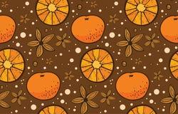 Modello di Natale del mandarino e dell'anice stellato Immagine Stock Libera da Diritti