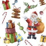 Modello di Natale dell'acquerello con Santa Claus Carattere dipinto a mano di Natale con agrifoglio, caramelle, biscotti e Fotografie Stock