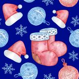 Modello di Natale dell'acquerello delle palle, degli spiritelli malevoli e dei fiocchi di neve di Natale royalty illustrazione gratis