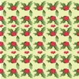 Modello di Natale delle foglie e delle bacche dell'agrifoglio Fotografia Stock Libera da Diritti