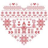 Modello di Natale di forma del cuore con Santa Claus su fondo bianco Fotografia Stock Libera da Diritti