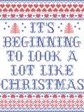 Modello di Natale il suo inizio da assomigliare molto al modello senza cuciture scandinavo di Natale ispirato da cultura nordica illustrazione vettoriale
