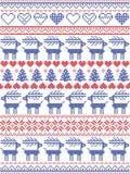 Modello di Natale ispirato entro il punto trasversale scandinavo e l'inverno nordico di stile che cucono decorazione senza cucitu illustrazione vettoriale