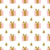 Modello di Natale di Minimalistic con i regali e le campane immagini stock