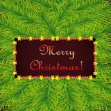 Modello di Natale su fondo di abete illustrazione vettoriale