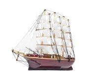 Modello di nave di navigazione isolato su bianco Fotografia Stock Libera da Diritti