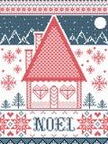 Modello di Noel Christmas con il villaggio del paese delle meraviglie di inverno, elementi senza cuciture del modello ispirati da illustrazione vettoriale
