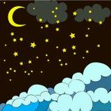 Modello di notte con le stelle, onde, luna Fotografia Stock