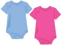 Modello di Onesie del bambino nel colore rosa ed in azzurro illustrazione vettoriale