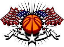 Modello di pallacanestro con le bandierine e le stelle Fotografie Stock Libere da Diritti