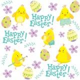 Modello di Pasqua con i polli ed i fiori Immagine Stock