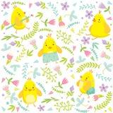 Modello di Pasqua con i polli, le uova ed i fiori Immagini Stock