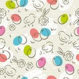 Modello di Pasqua, uova di Pasqua, fiore e pulcini, vettore Immagini Stock Libere da Diritti