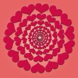 Modello di piccoli cuori rossi su un fondo rosa Immagine Stock Libera da Diritti