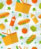 Modello di picnic di estate di vettore Senza cuciture variopinto Fotografia Stock Libera da Diritti