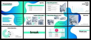 Modello di presentazione di affari con il flui verde e blu di pendenza illustrazione di stock