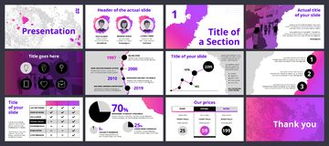 Modello di presentazione di affari con le pendenze ed i cerchi neri illustrazione vettoriale