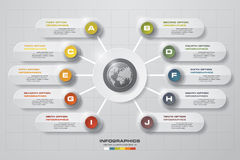 Modello di presentazione di affari di punti dell'estratto 10 Progetti il modello delle insegne di numero/disposizione pulito del  Fotografie Stock Libere da Diritti