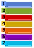 Modello di presentazione di Infographic del processo di lavoro in sette punti con gli elementi multicolori e nelle cornici di tes Fotografia Stock