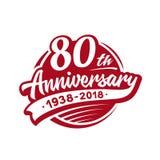 modello di progettazione di anniversario 80years Vettore ed illustrazione ottantesimo logo royalty illustrazione gratis