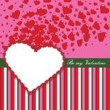 Modello di progettazione dei biglietti di S. Valentino con i cuori e le strisce Immagini Stock