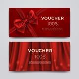Modello di progettazione del buono di regalo Insieme della carta promozionale premio con l'arco, il nastro realistico e la seta r royalty illustrazione gratis