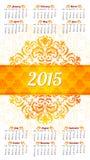 Modello di progettazione del calendario 2015 Fotografia Stock Libera da Diritti
