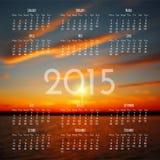 Modello di progettazione del calendario 2015 Immagini Stock