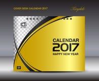 Modello di progettazione del calendario da scrivania 2017 della copertura dell'oro, calendario 2017 Fotografie Stock