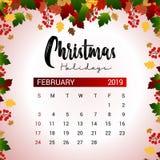 2019 modello di progettazione del calendario di febbraio della decorazione del nuovo anno o di Natale royalty illustrazione gratis