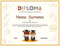 Modello di progettazione del certificato del diploma dei bambini della scuola materna Fotografia Stock