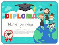 Modello di progettazione del certificato del diploma di graduazione dei bambini della scuola primaria royalty illustrazione gratis