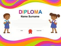 Modello di progettazione del fondo del certificato del diploma dei bambini Fotografia Stock
