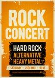 Modello di progettazione del manifesto di concerto rock dell'illustrazione di vettore retro su vecchia struttura di carta Fotografia Stock Libera da Diritti