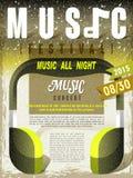 Modello di progettazione del manifesto di festival di musica Immagine Stock