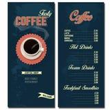 Modello di progettazione del menu della caffetteria Fotografie Stock