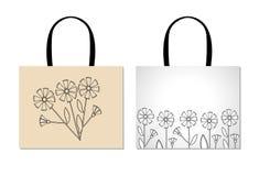 Modello di progettazione del sacchetto della spesa con i fiori neri creativi Fotografie Stock Libere da Diritti
