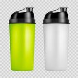 Modello di progettazione dell'agitatore della proteina Due bottiglie di sport di colori Bottiglia dell'agitatore isolata per cult royalty illustrazione gratis