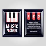Modello di progettazione dell'aletta di filatoio dell'opuscolo di festival di musica Illustrazione del manifesto di concerto di v Fotografia Stock