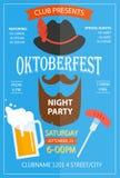 Modello di progettazione dell'aletta di filatoio dell'invito del partito di notte di Oktoberfest Immagini Stock