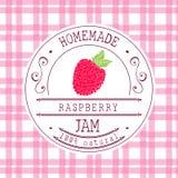 Modello di progettazione dell'etichetta dell'inceppamento per il prodotto del dessert del lampone con frutta e fondo schizzati di Immagine Stock